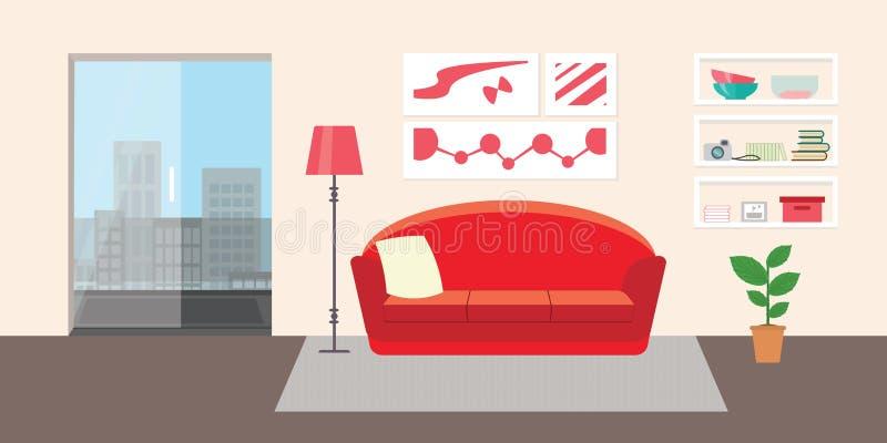 Sala de estar con muebles Ejemplo interior del vector plano del estilo Sofá, almohada, lámpara, imágenes, balcón, flor, estante D libre illustration