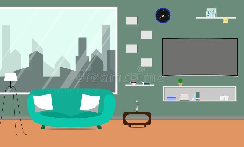 Sala de estar con Smart curvado TV ilustración del vector