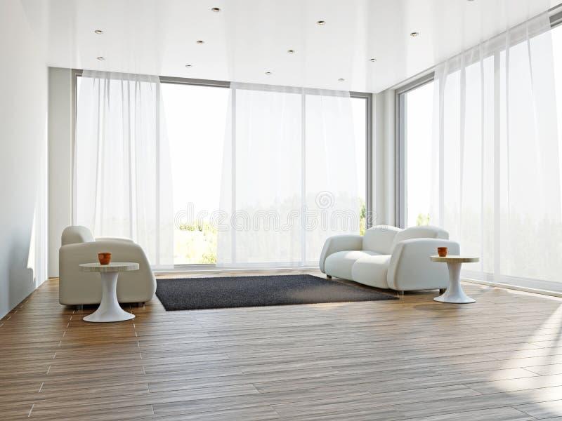 Sala de estar con sofás y una alfombra imagen de archivo