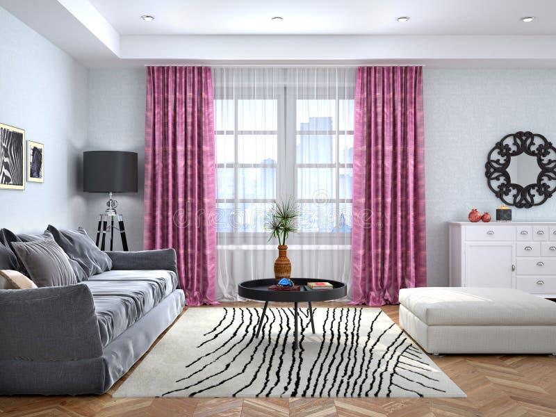 Sala de estar con una ventana grande libre illustration