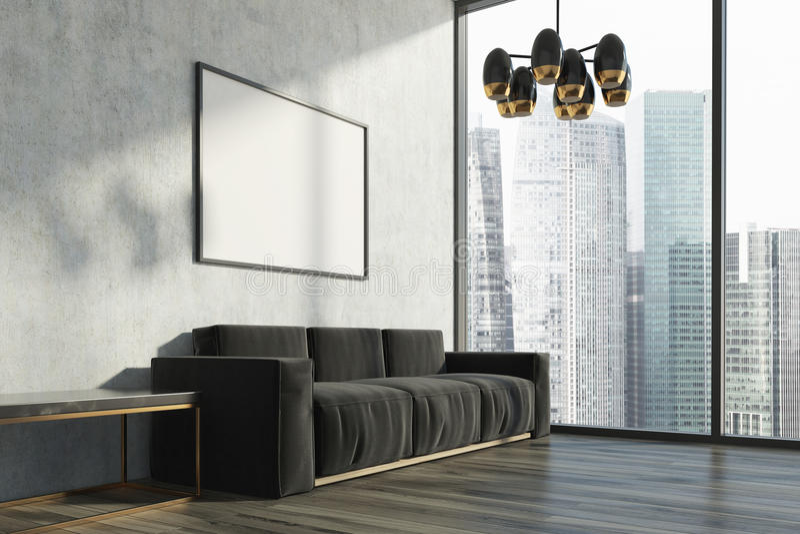 Sala de estar concreta, sofá negro, cartel stock de ilustración