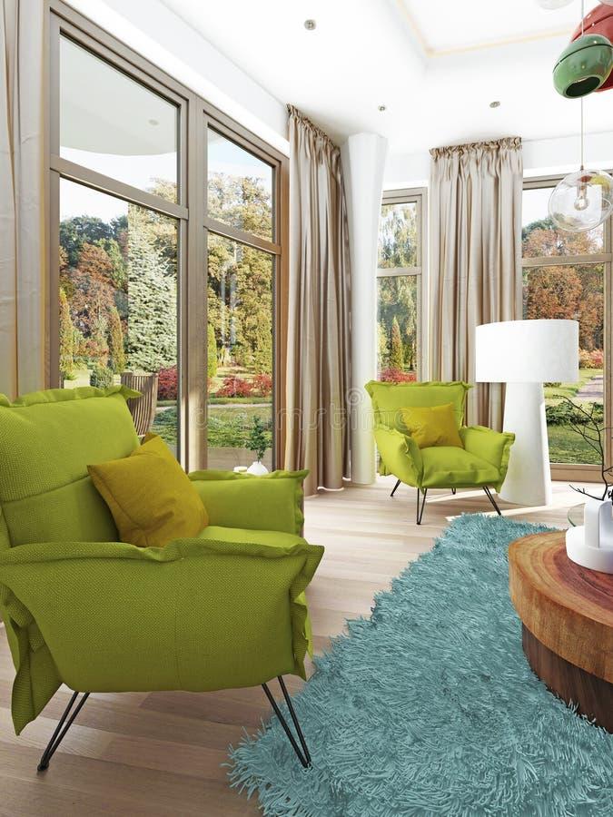 Sala de estar contemporánea con una sala de estar con dos sillas libre illustration