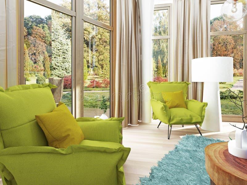 Sala de estar contemporánea con una sala de estar con dos sillas ilustración del vector