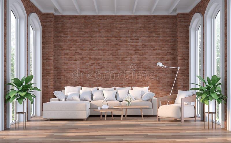 Sala de estar contemporánea moderna con la pared de ladrillo roja 3d rendir stock de ilustración