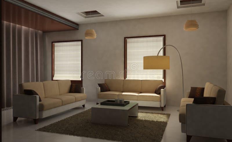 Sala de estar 3D rendida stock de ilustración