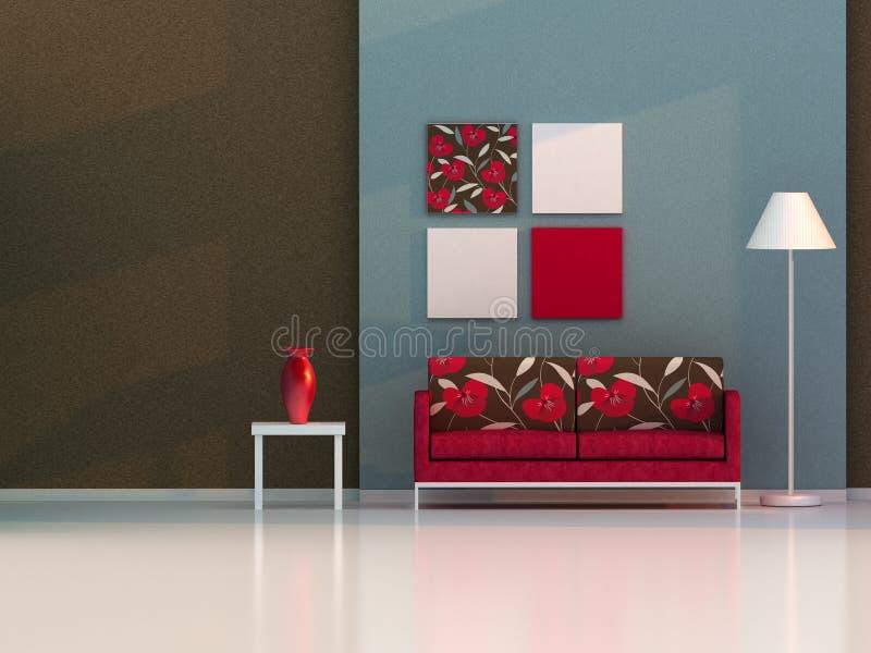 Sala de estar de Brown, sitio moderno stock de ilustración