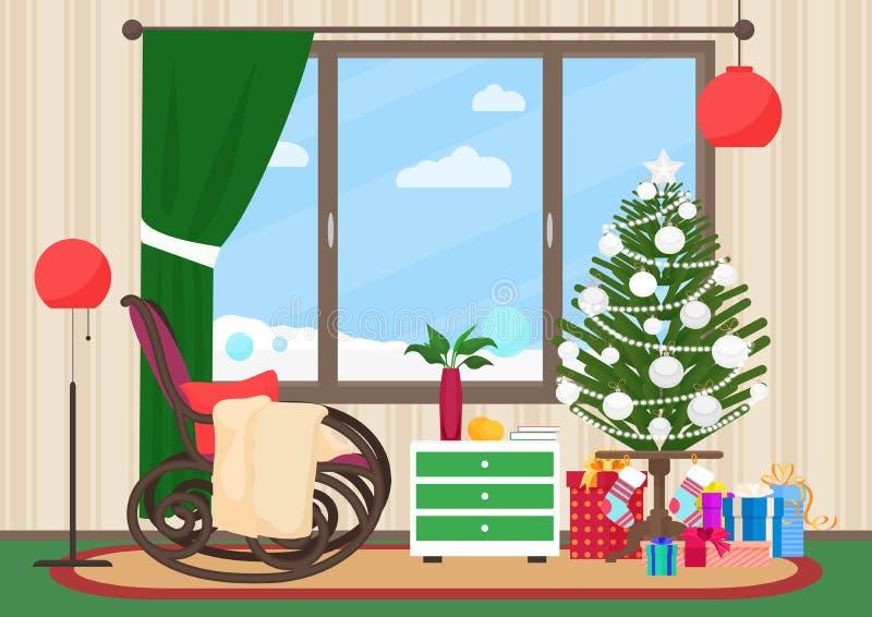 Sala de estar de la Navidad completamente interior con el ejemplo del vector de la mecedora Árbol del Año Nuevo de la Navidad Pai stock de ilustración