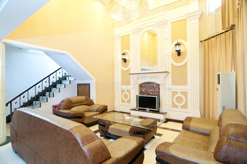 A sala de estar de uma série de hotel foto de stock