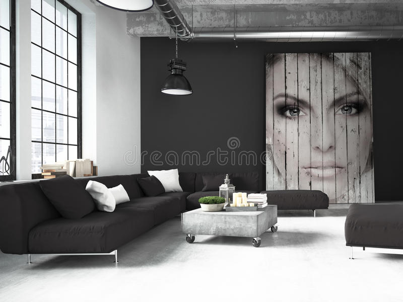 Sala de estar de un ático representación 3d imagenes de archivo