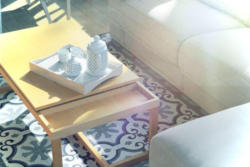 Sala de estar Decoración interior de la arquitectura en un suelo de baldosas hidráulico al lado del sofá fotografía de archivo