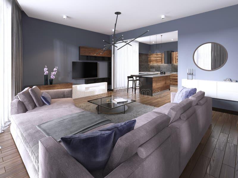 Sala de estar del apartamento-estudio con el sofá de la tela y el almacenamiento de la TV y cocina con la consola en la pared stock de ilustración