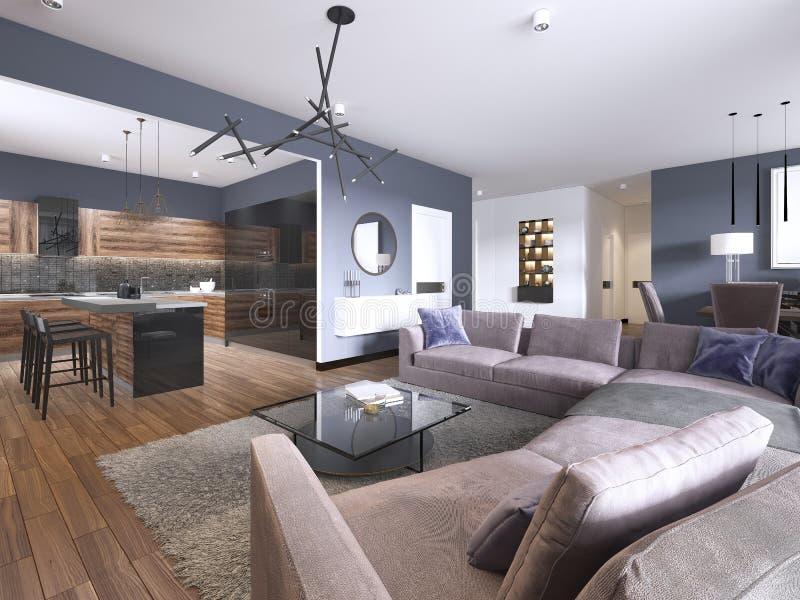 Sala de estar del apartamento-estudio con el sofá de la tela y el almacenamiento de la TV y cocina con la consola en la pared libre illustration