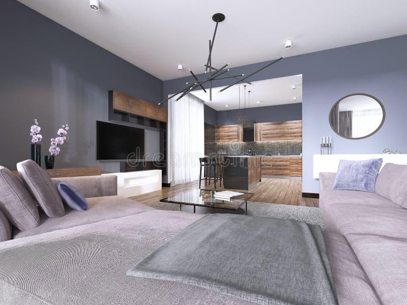 Sala de estar del apartamento-estudio con el sofá de la tela y el almacenamiento de la TV y cocina con la consola en la pared ilustración del vector