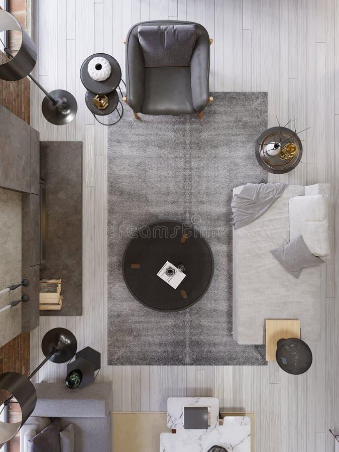 Sala de estar del desván del vintage con la chimenea moderna, diseño interior moderno, visión superior, plan stock de ilustración