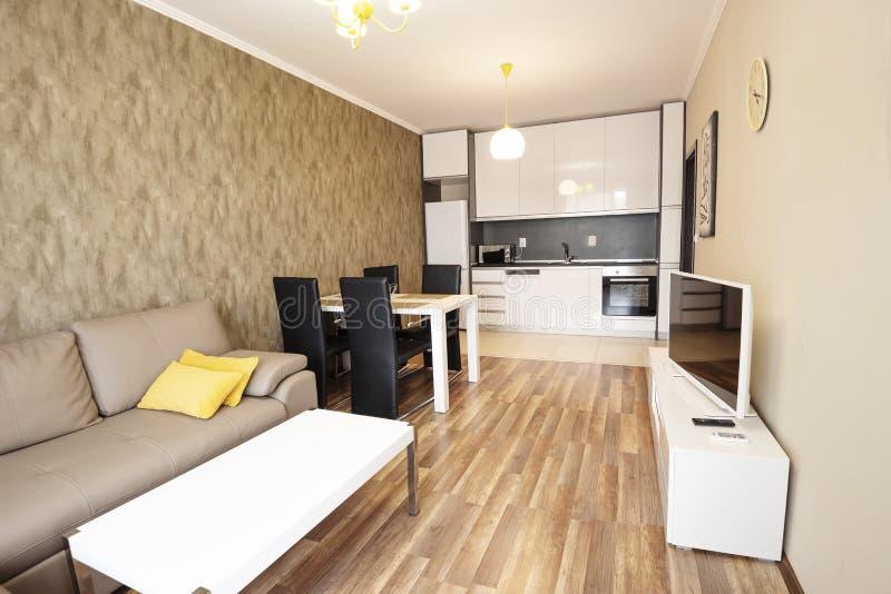 Sala de estar del espacio abierto con la cocina Nuevo hogar Sitio con muebles marrones y grises y ligeros Fotografía interior Sue imagen de archivo libre de regalías