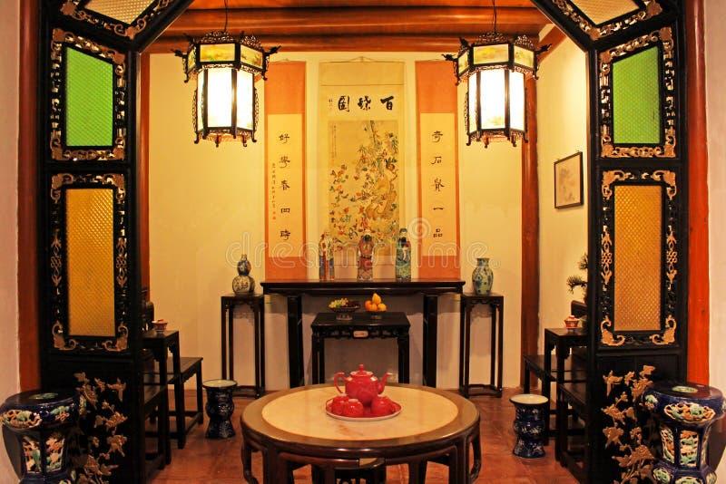 Sala de estar del estilo chino, Macao, China fotografía de archivo
