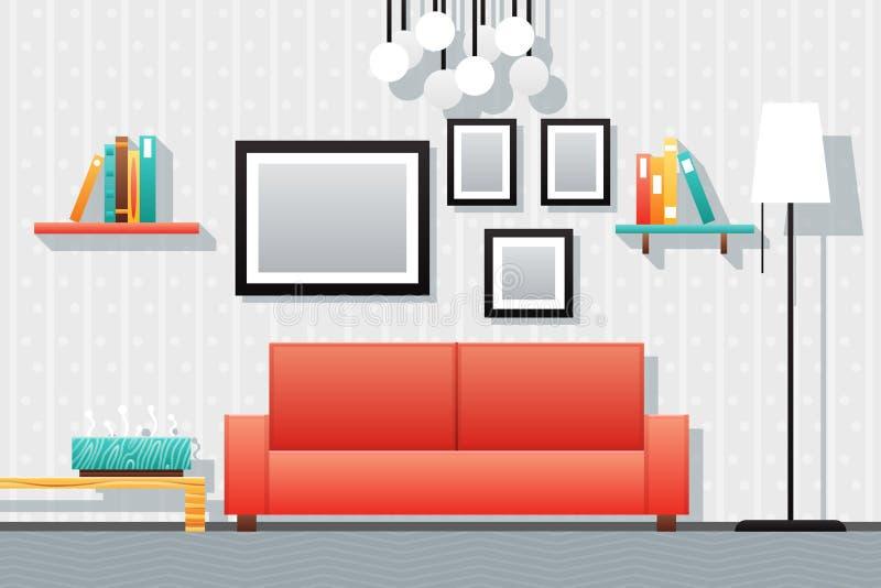 Sala de estar del interior de la casa stock de ilustración