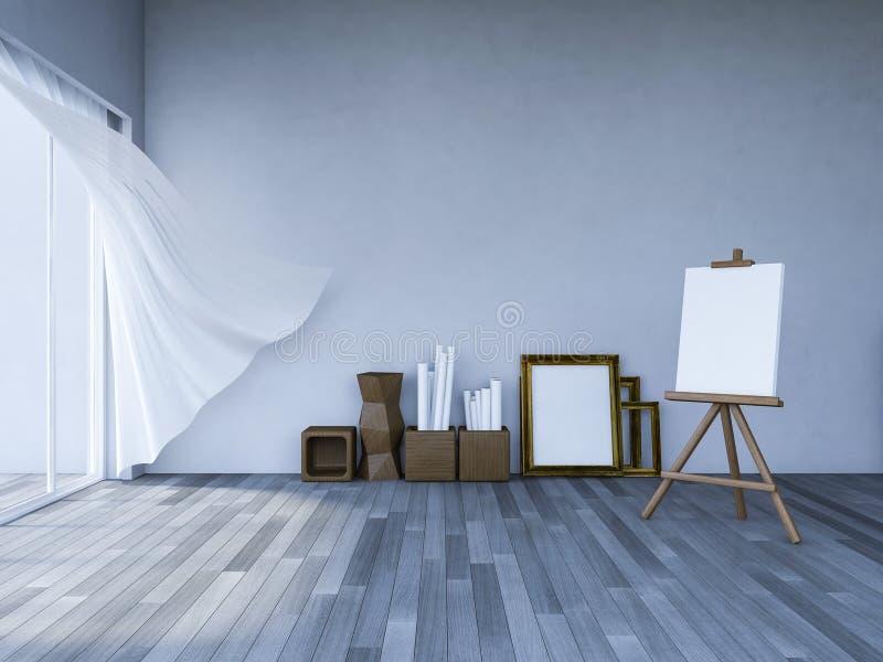sala de estar del interior 3ds stock de ilustración