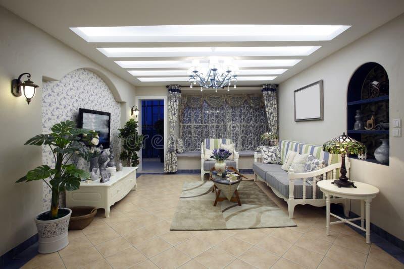 sala de estar del Mediterráneo-estilo fotografía de archivo libre de regalías