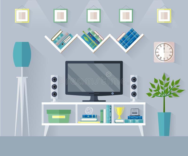 Sala de estar del vector con el aparato de TV stock de ilustración