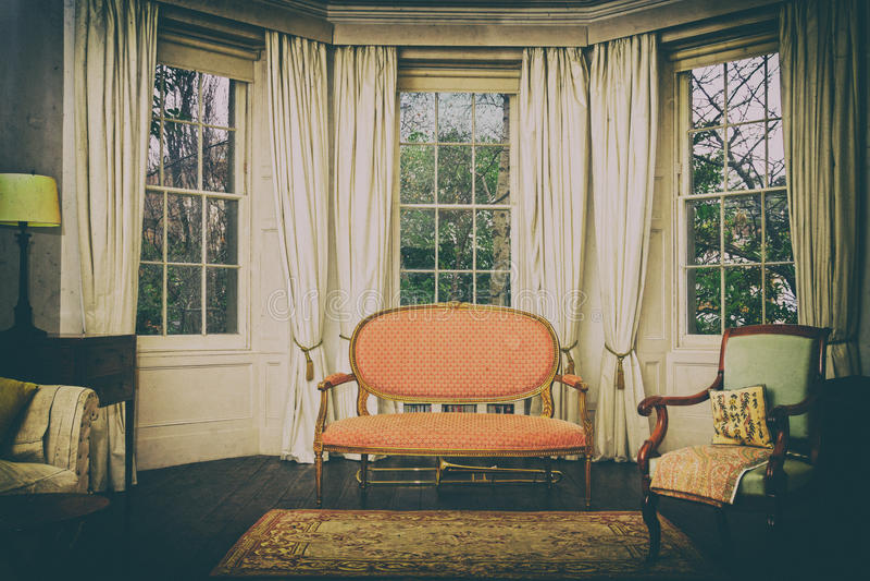 Sala de estar del vintage imagenes de archivo