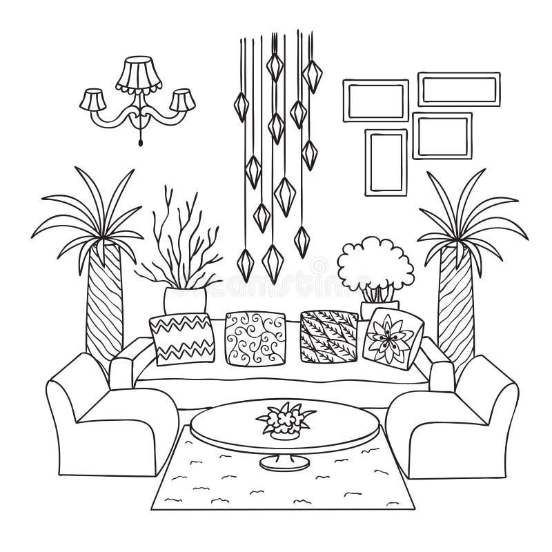 Sala de estar dibujada mano para el elemento del diseño y la página del libro de colorear Ilustración del vector stock de ilustración