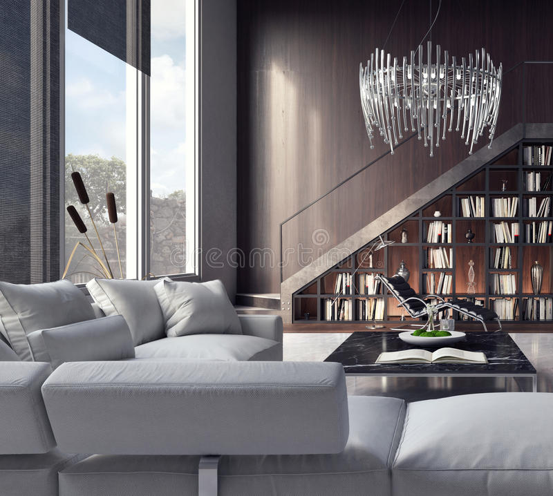 Sala de estar, diseño interior fotografía de archivo libre de regalías