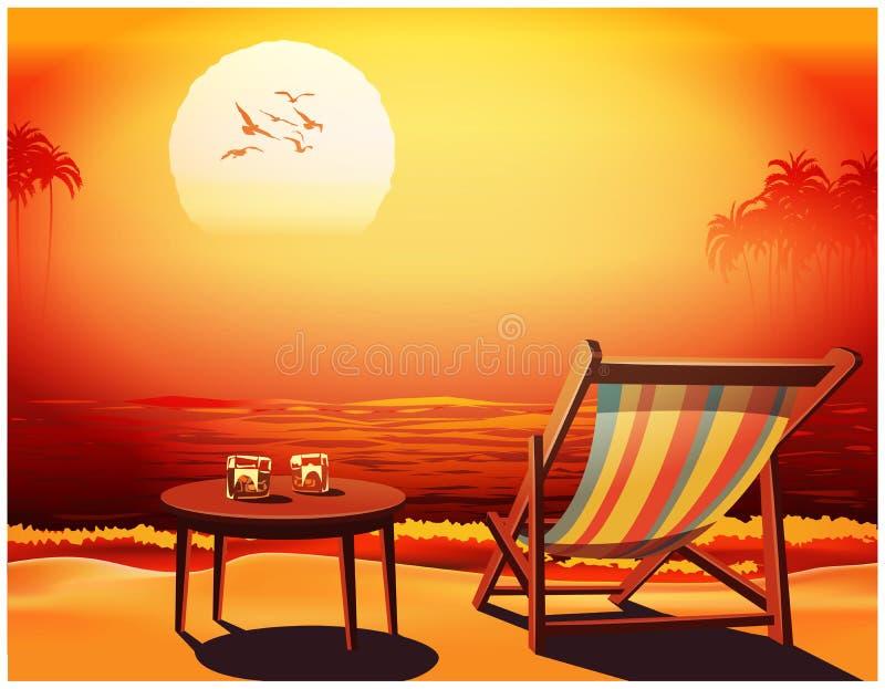 Sala de estar do Chaise, tabela e dois vidros do uísque no litoral ilustração do vetor