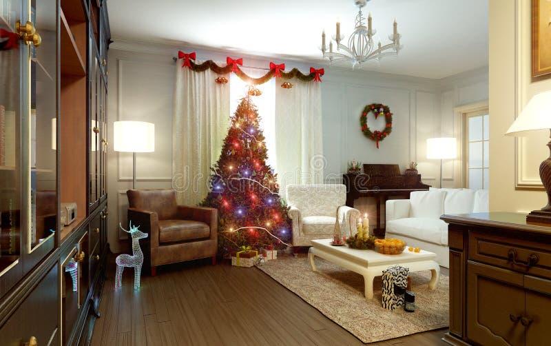 Sala de estar, el interior del Año Nuevo stock de ilustración