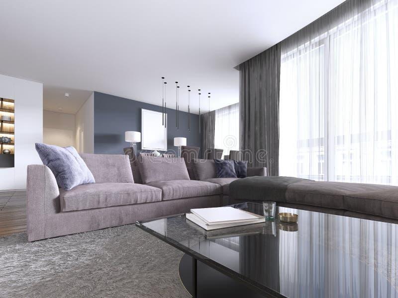 Sala de estar elegante llenada de los gabinetes incorporados, del sofá de la esquina violeta, sofá suave que hace frente a dos ta ilustración del vector