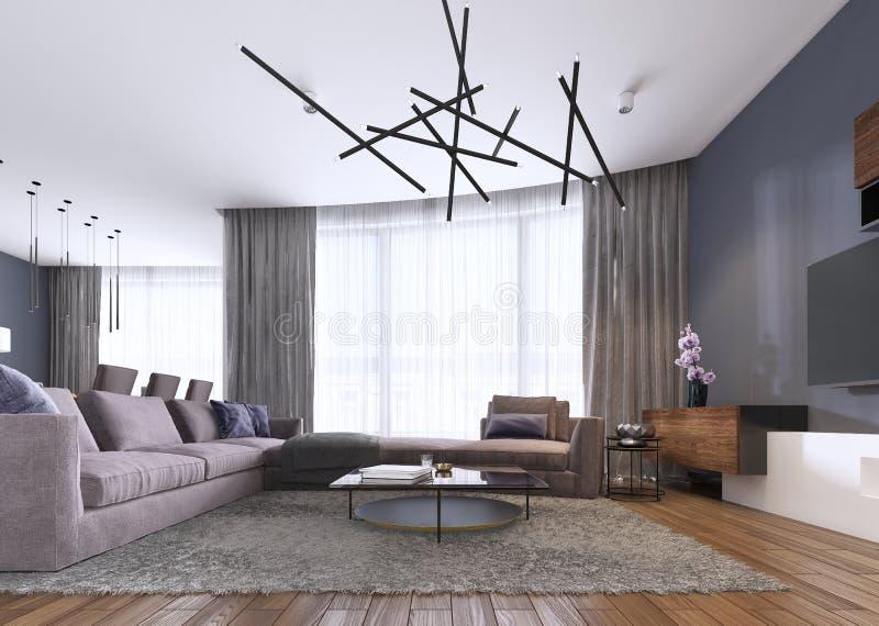 Sala de estar elegante llenada de los gabinetes incorporados, del sofá de la esquina violeta, sofá suave que hace frente a dos ta stock de ilustración