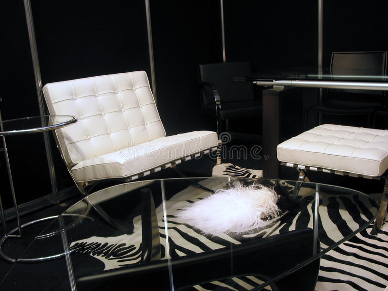 Sala de estar en blanco y negro fotografía de archivo