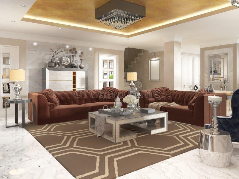 Sala de estar en estilo del art déco con el furnitur tapizado del diseñador stock de ilustración