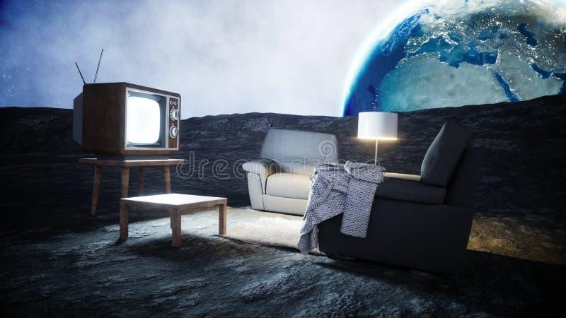 Sala de estar en la luna Viva en el concepto de la luna Fondo de la tierra representación 3d libre illustration