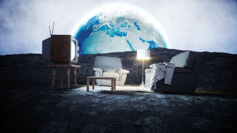 Sala de estar en la luna Viva en el concepto de la luna Fondo de la tierra representación 3d ilustración del vector