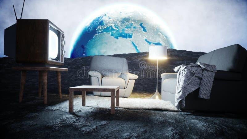 Sala de estar en la luna Viva en el concepto de la luna Fondo de la tierra representación 3d stock de ilustración