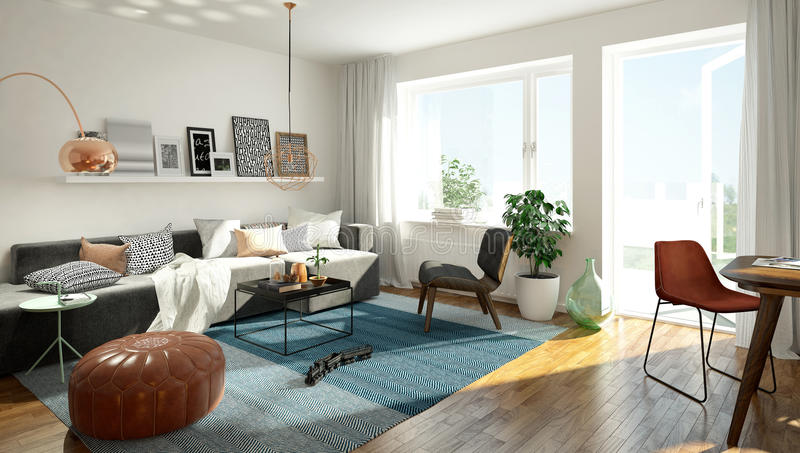 Sala de estar escandinava imágenes de archivo libres de regalías