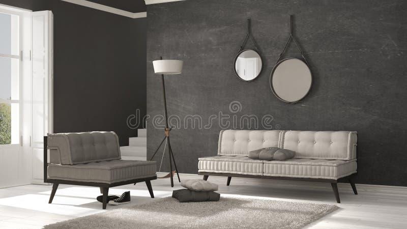 Sala de estar escandinava con el sofá y la alfombra suave, minimalist libre illustration