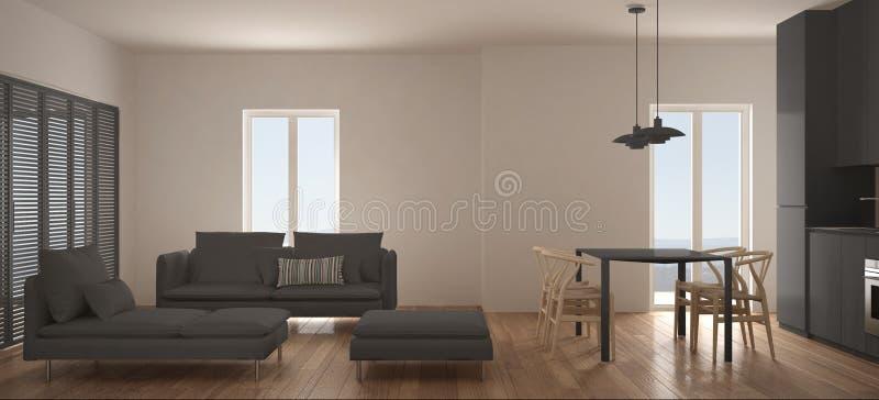 Sala de estar escandinava minimalista con la cocina y mesa de comedor, sofá, taburete y sillón, ventana panorámica, wh contemporá libre illustration