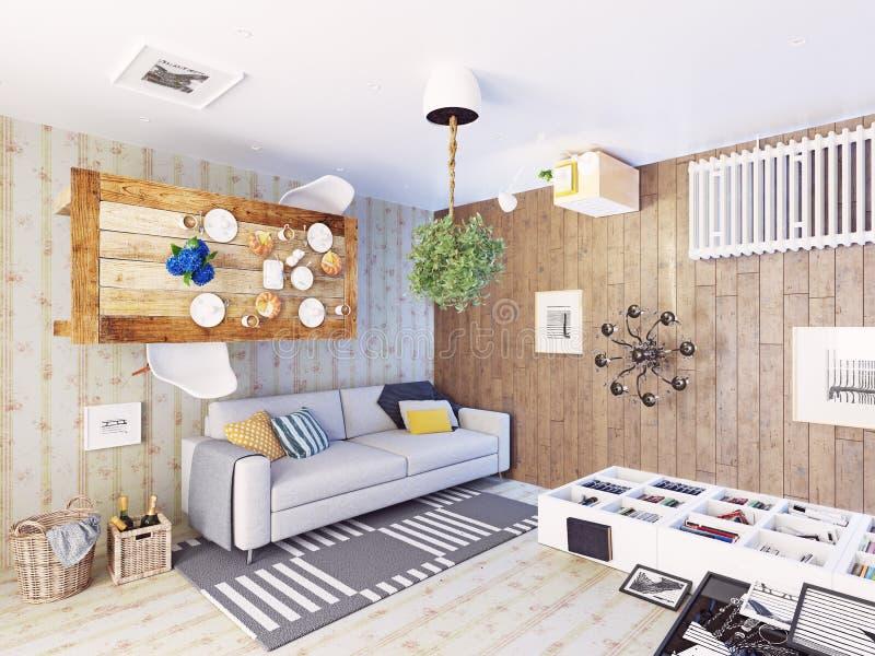 Sala de estar extraña ilustración del vector