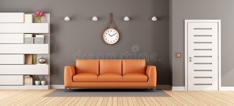 Sala de estar gris con el sofá anaranjado libre illustration