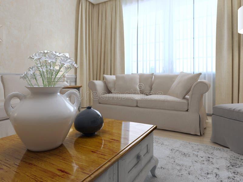 Sala de estar hermosa con el sofá blanco libre illustration