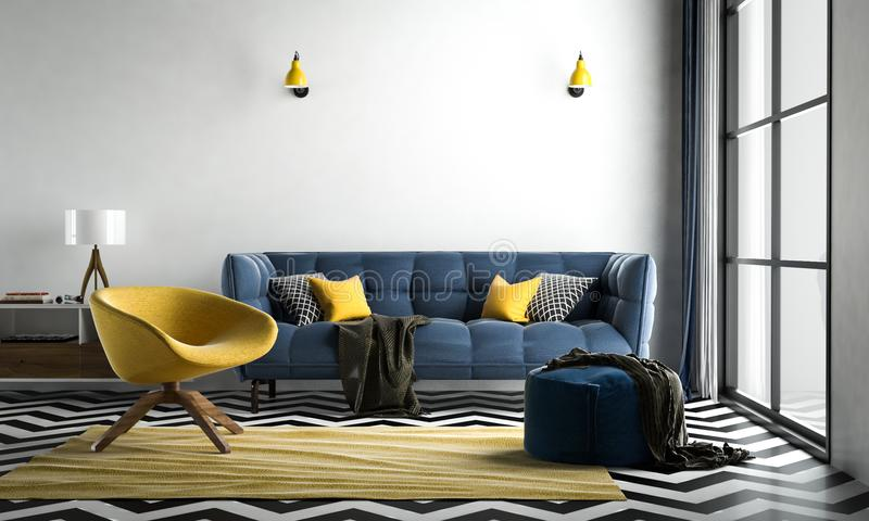 Sala de estar interior de Chevron, piso del galón negro-blanco, con lo libre illustration
