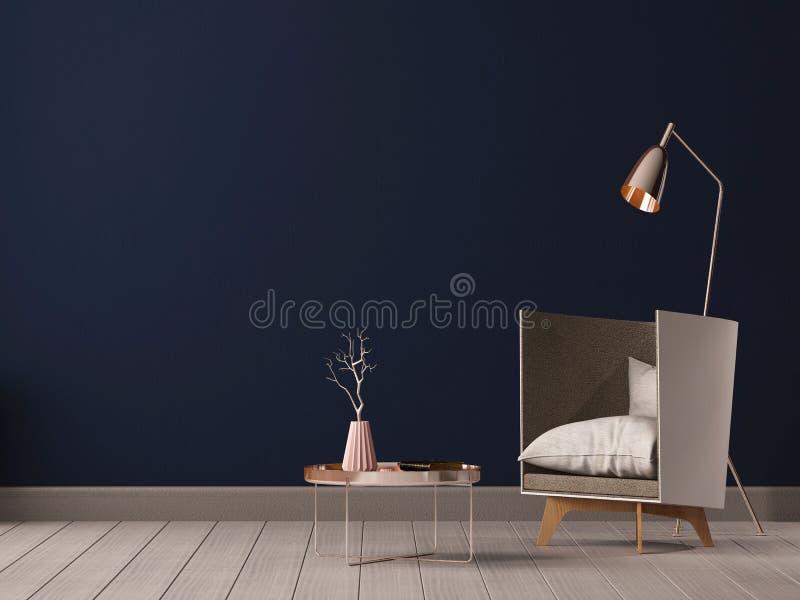 Sala de estar interior con las paredes, la silla y la lámpara vacías 3D representación, ejemplo 3D stock de ilustración