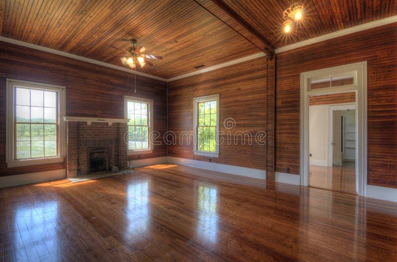 Sala de estar interior de madera imagenes de archivo