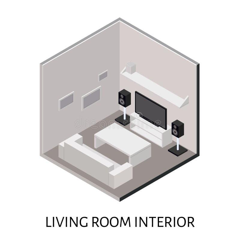 Sala de estar isométrica con el sistema estéreo del plasma TV ilustración del vector