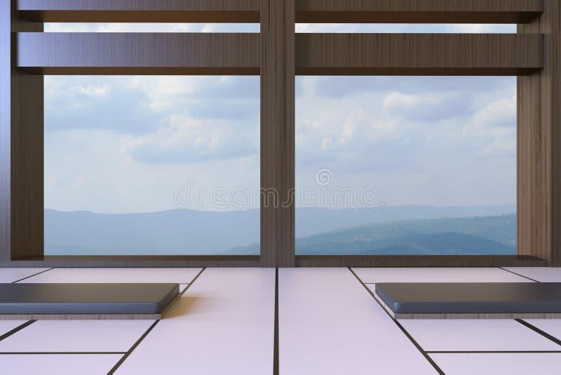 Sala de estar japonesa moderna simple y opiniones mínimas de los asientos de montañas y del fondo del cielo libre illustration