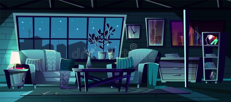 Sala de estar de la historieta del vector en la noche, interior ilustración del vector
