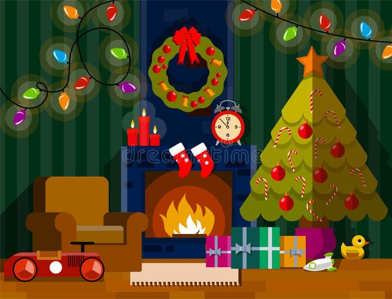 Sala de estar de la Navidad interior con la chimenea stock de ilustración