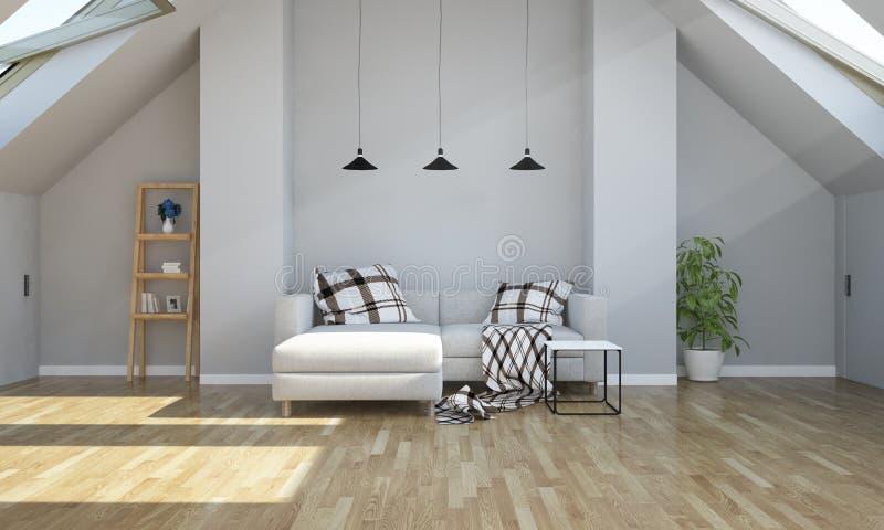 sala de estar de la representación 3d en ático fotografía de archivo libre de regalías